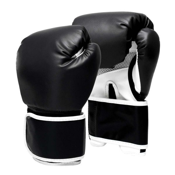 Boxing Gloves Leather Gel Punching Fighting MMA Muay Thai Black 1