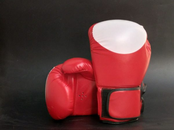 Leather Boxing Gloves MMA GEL Punch Bag Kick Boxing UFC Train Red 1