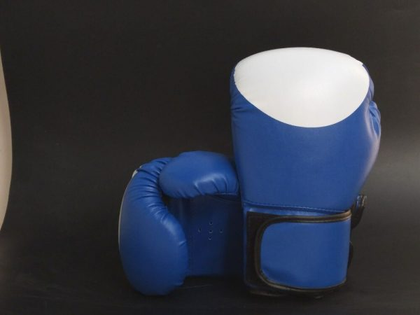 Leather Boxing Gloves MMA GEL Punch Bag Kick Boxing UFC Train Blue 1