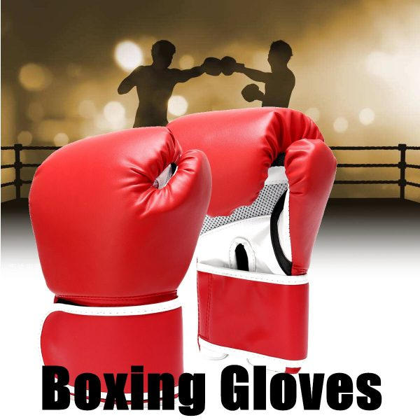 Boxing Gloves Leather Gel Punching Fighting MMA Muay Thai Red 1