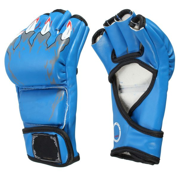 MMA Grappling Gloves Boxing Training Kick Muay Thai Fight Blue 1