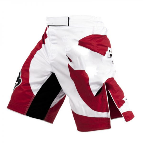 MMA Training Cage Fighting Grappling Kickboxing Shorts White Red 1