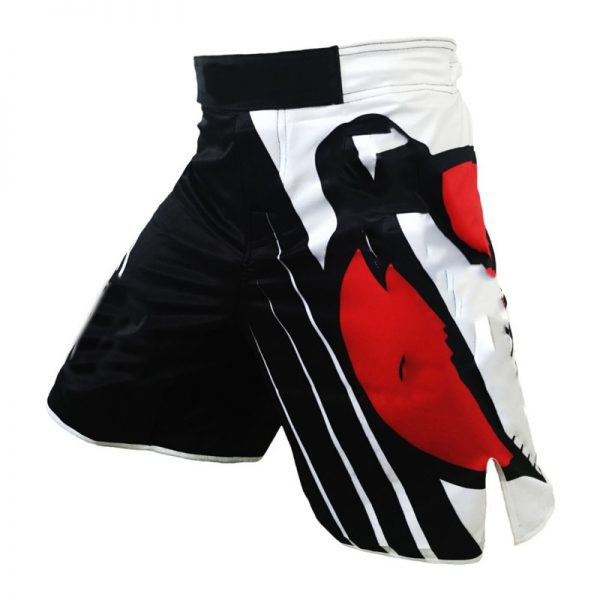 MMA Training Cage Striped Black White Grappling Kickboxing Shorts 1