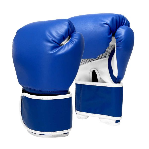 Boxing Gloves Leather Gel Punching Fighting MMA Muay Thai Blue 1