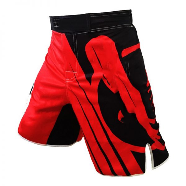MMA Training Cage Striped Grappling Kickboxing Shorts Red 1