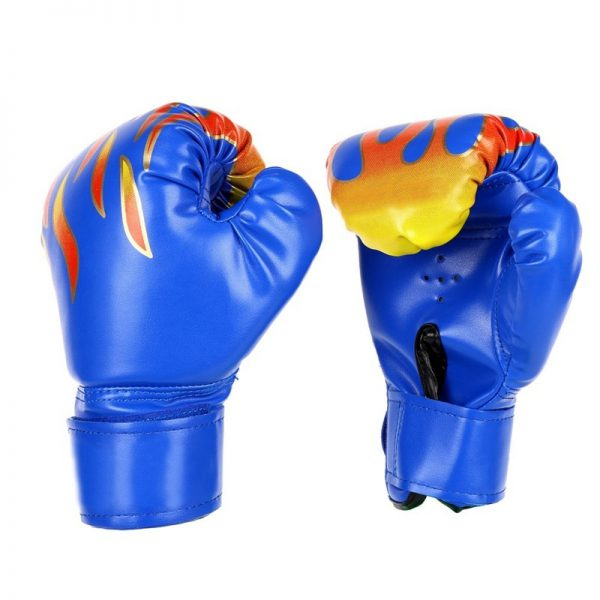 MMA Leather Boxing Gloves Training Punching Bag Sparring Gloves Blue 1