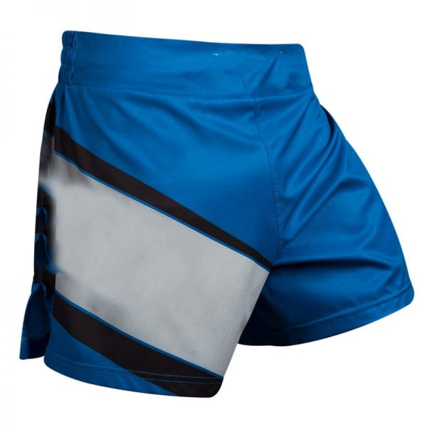 MMA Training Cage Striped Grappling Kickboxing Shorts Blue Grey 1