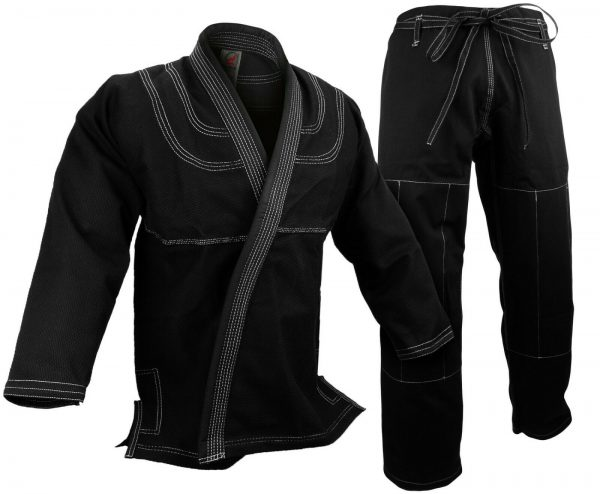BJJ Gi Kimono 100% Cotton Preshrunk Jiu Jitsu Uniform Black 1