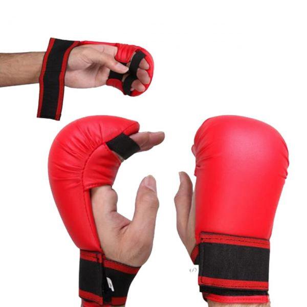 Karate Gloves Martial Arts Taekwondo Boxing Punch Mitts Red 1
