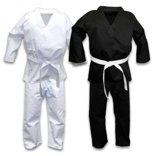 Taekwondo Gi 100% Polyester Cotton White Black Suit 1