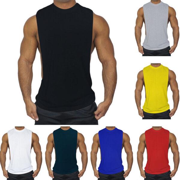 Mens Sleeveless Tee Gym Workout Tank Top 1