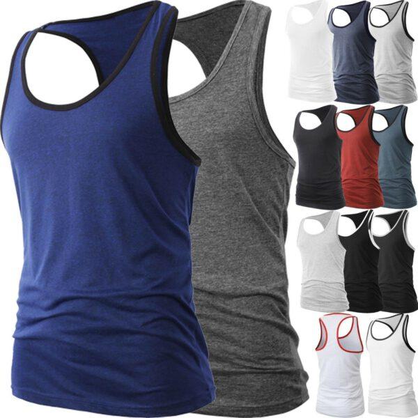 Mens Muscle Tank Top Ribbed Fashion T Shirt 1